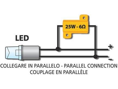 Resistenza lampade LED   6 Ohm   25Watt